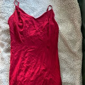 Red mini dress with cross cross back